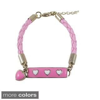 Luxiro Goldtone Girls Enamel Hearts Braided Synthetic Leather Rope ID Bracelet