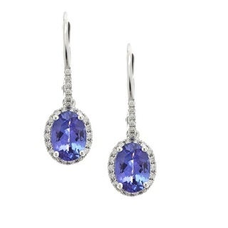 Anika and August 14k White Gold 1/5ct TDW Diamond Tanzanite Leverback Earrings (G-H, I1-I2)