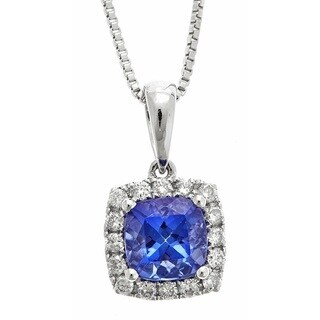 Anika and August 14K White Gold 1/5ct TDW Diamond and Tanzanite Pendant Necklace