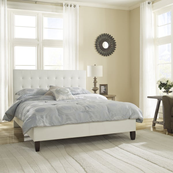 sleep sync waverly upholstered white leather platform bed free shipping today. Black Bedroom Furniture Sets. Home Design Ideas