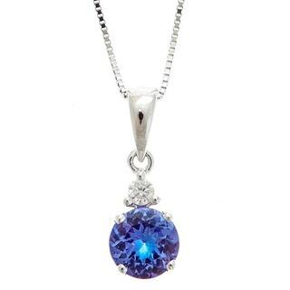 Tanzanite necklaces for less overstock anika and august 14k white gold tanzanite and diamond accent pendant necklace aloadofball Image collections