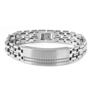 Stainless Steel Men's 3/8ct TDW Black Diamond ID Style Bracelet