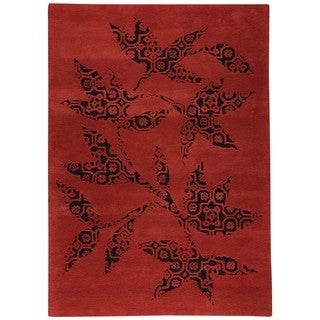M.A.Trading Hand-tufted Wool Samarkand Red Transitional Floral Rug (5'6 x 7'10)