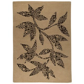 M.A.Trading Hand-tufted Wool Samarkand Beige Transitional Floral Rug (5'6 x 7'10)