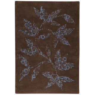 M.A.Trading Hand-tufted Wool Samarkand Brown/ Light Blue Transitional Floral Rug (5'6 x 7'10)