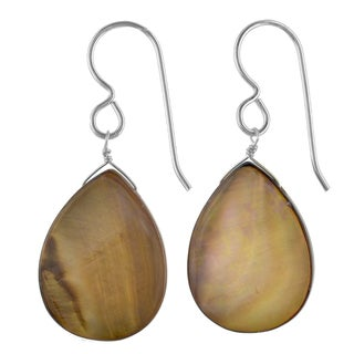 Ashanti Sterling Silver Smokey Brown Mother of Pearl Handmade Earrings (Sri Lanka)