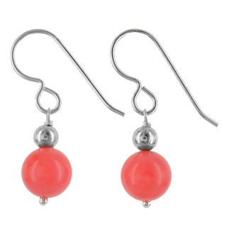 Ashanti Sterling Silver Coral Bamboo Handmade Earrings (Sri Lanka)