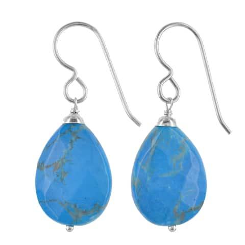 Turquoise Howlite Gemstone Silver Handmade Earrings