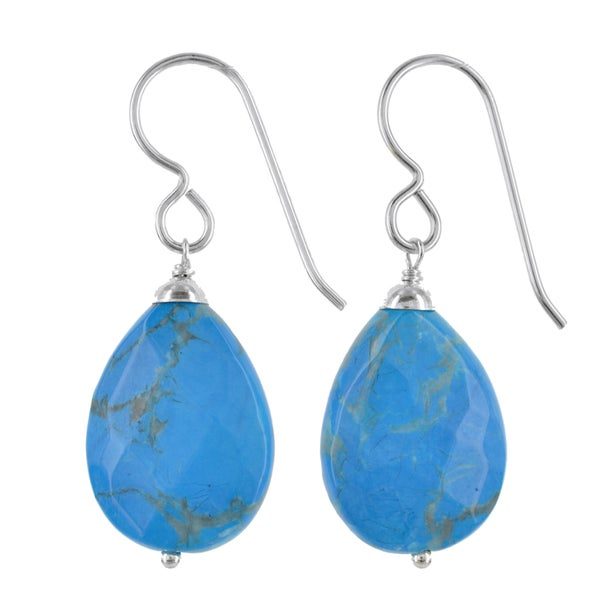 Turquoise Howlite Gemstone Silver Handmade Earrings. Opens flyout.