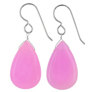 Ashanti Sterling Silver Polished Pink Jade Gemstone Handmade Earrings (Sri Lanka)