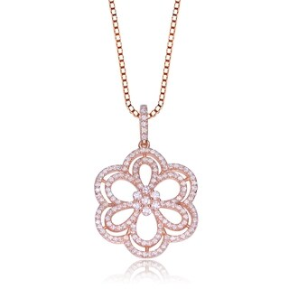 Collette Z Rose-plated Sterling Silver Cubic Zirconia Flower Shape Necklace
