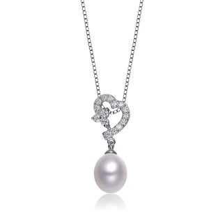 Collette Z Sterling Silver Cubic Zirconia and White Freshwater Pearl Heart Necklace (9.5-10 mm)