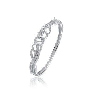 Collette Z Sterling Silver Cubic Zirconia Elegant Circle Design Bangle