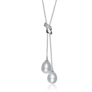 Collette Z Sterling Silver Cubic Zirconia White Freshwater Pearl Dangling Necklace (8-11 mm)