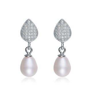 Collette Z Sterling Silver Cubic Zirconia White Freshwater Pearl Dangling Earrings (6.5-7.5 mm)