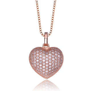 Collette Z Rose-plated Sterling Silver Cubic Zirconia Heart Shape Necklace