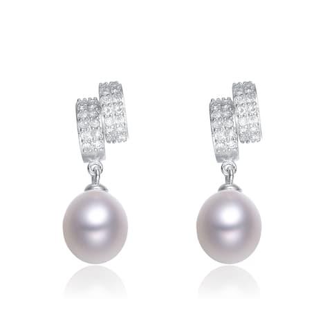 Collette Z Sterling Silver Cubic Zirconia White Freshwater Pearl Dangling Earrings (7-10 mm)