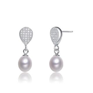 Collette Z Sterling Silver Cubic Zirconia White Freshwater Pearl Dangling Earrings (7-9 mm)