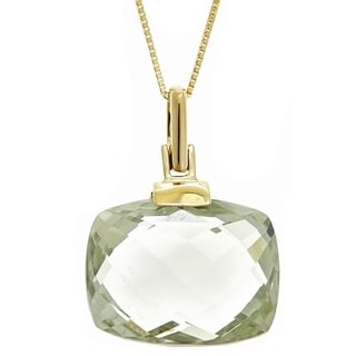Anika and August 14k Yellow Gold Yellow-Green Cushion-cut Amethyst Pendent Necklace