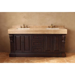 James Martin Furniture Toscano 72-inch Double Vanity Set with Gold Travertine Top