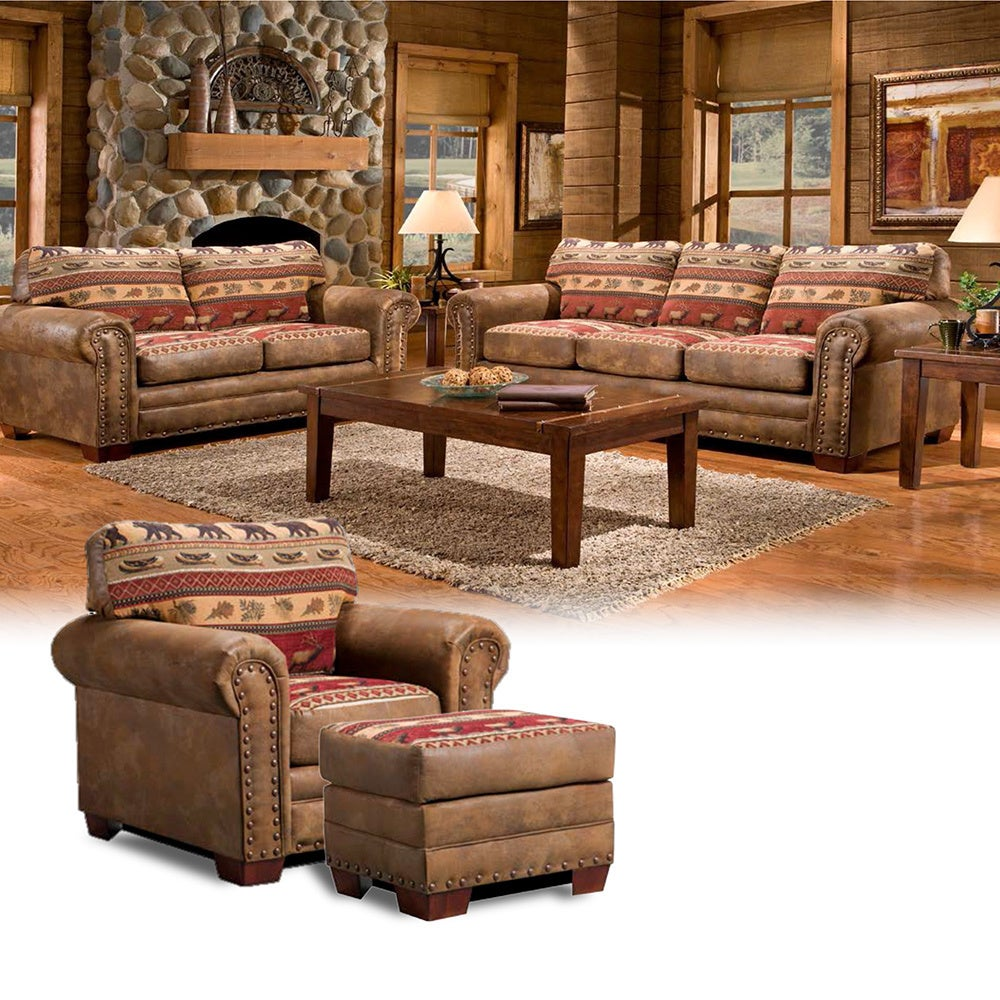 American Sierra Mountain Lodge Four-piece Group with Sofa...