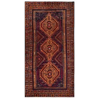 Herat Oriental Semi-antique Afghan Hand-knotted Tribal Balouchi Coral/ Navy Wool Rug (3'6 x 6'9)