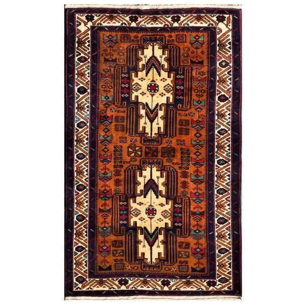 Herat Oriental Afghan Hand-knotted 1960s Semi-antique Tribal Balouchi Wool Rug (3'3 x 5'5)