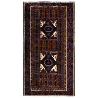 Herat Oriental Semi-antique Afghan Hand-knotted Tribal Balouchi Brown/ Navy Wool Rug (3'7 x 6'8)