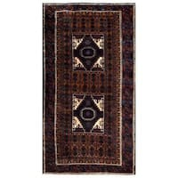 Herat Oriental Afghan Hand-knotted 1960s Semi-antique Tribal Balouchi Wool Rug - 3'7 x 6'8