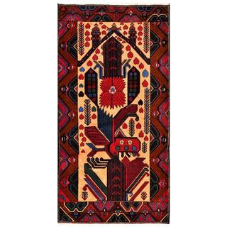 Herat Oriental Semi-antique Afghan Hand-knotted Tribal Balouchi Peach/ Red Wool Rug (3'10 x 7'2)