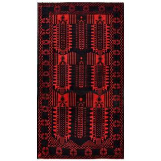 Herat Oriental Afghan Hand-knotted 1960s Semi-antique Tribal Balouchi Wool Rug (3'9 x 6'10)