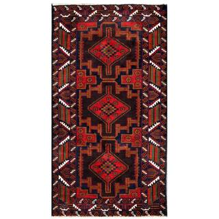 Herat Oriental Afghan Hand-knotted 1960s Semi-antique Tribal Balouchi Wool Rug (3'3 x 6'4)