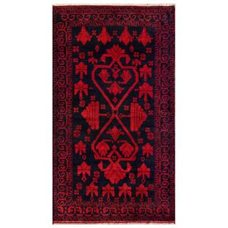 Herat Oriental Afghan Hand-knotted 1950s Semi-antique Tribal Balouchi Wool Rug (3'6 x 6'1)