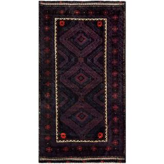 Herat Oriental Semi-antique Afghan Hand-knotted Tribal Balouchi Navy/ Dark Green Wool Rug (3'7 x 6'7)