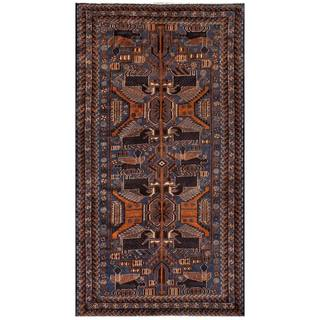 Herat Oriental Afghan Hand-knotted 1950s Semi-antique Tribal Balouchi Wool Rug (3'7 x 6'7)