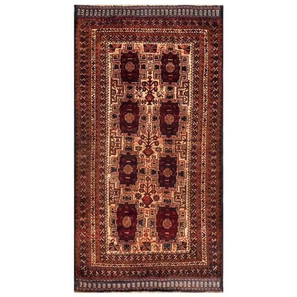 Herat Oriental Afghan Hand-knotted 1950s Semi-antique Tribal Balouchi Wool Rug (3'6 x 6'8) - 3'6 x 6'8