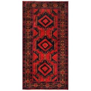 Herat Oriental Semi-antique Afghan Hand-knotted Tribal Balouchi Red/ Navy Wool Rug (3'5 x 6'8)