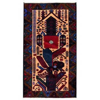 Herat Oriental Afghan Hand-knotted 1950s Semi-antique Tribal Balouchi Wool Rug (3'7 x 6'4)