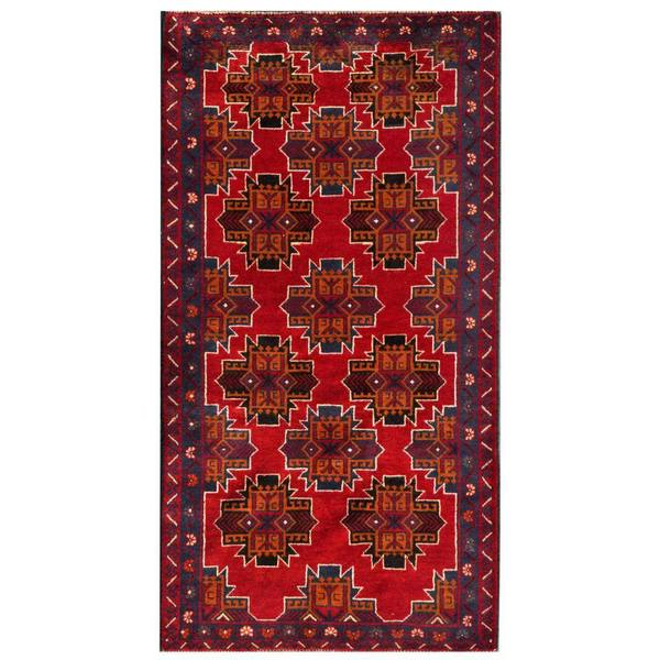 Herat Oriental Afghan Hand-knotted 1960s Semi-antique Tribal Balouchi Wool Rug (3'5 x 6'6)