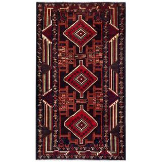 Herat Oriental Semi-antique Afghan Hand-knotted Tribal Balouchi Red/ Purple Wool Rug (3'6 x 6'3)