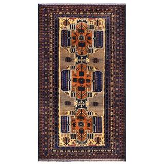 Herat Oriental Afghan Hand-knotted 1950s Semi-antique Tribal Balouchi Wool Rug (3'8 x 6'5)