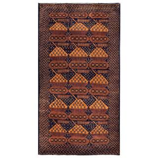 Herat Oriental Afghan Hand-knotted 1960s Semi-antique Tribal Balouchi Wool Rug (3'5 x 6'7)
