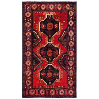 Herat Oriental Semi-antique Afghan Hand-knotted Tribal Balouchi Navy/ Red Wool Rug (3'7 x 6'4)
