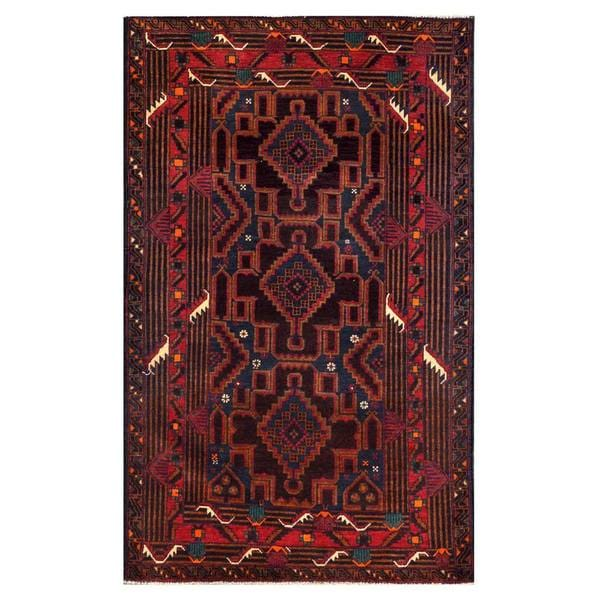 Herat Oriental Afghan Hand-knotted 1960s Semi-antique Tribal Balouchi Wool Rug (3'9 x 6'1) - 3'9 x 6'1