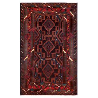Herat Oriental Semi-antique Afghan Hand-knotted Tribal Balouchi Navy/ Purple Wool Rug (3'9 x 6'1)