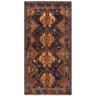 Herat Oriental Afghan Hand-knotted 1960s Semi-antique Tribal Balouchi Wool Rug (3'4 x 6'7)