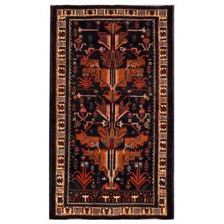 Herat Oriental Afghan Hand-knotted 1950s Semi-antique Tribal Balouchi Wool Rug (3'9 x 6'6)