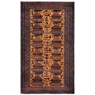 Herat Oriental Afghan Hand-knotted 1960s Semi-antique Tribal Balouchi Wool Rug (3'7 x 6'2)