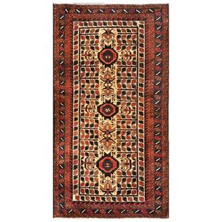 Herat Oriental Semi-antique Afghan Hand-knotted Tribal Balouchi Peach/ Brown Wool Rug (3'5 x 6'5)