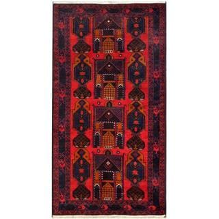 Herat Oriental Afghan Hand-knotted 1960s Semi-antique Tribal Balouchi Wool Rug (3'8 x 6'9)